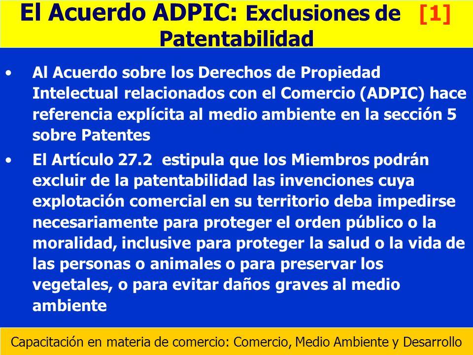 El Acuerdo ADPIC: Exclusiones de [1]